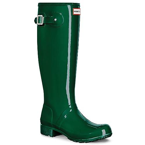 65ccae4e98 Womens Hunter Original Tour Gloss Wellies Wellingtons Snow Rainboots -  Hunter Green - 7