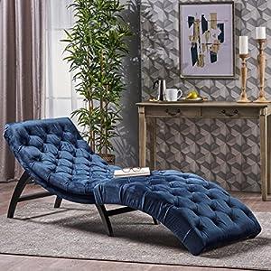 Christopher Knight Home Garret Velvet Chaise Lounge, Cobalt Grey / Dark Brown