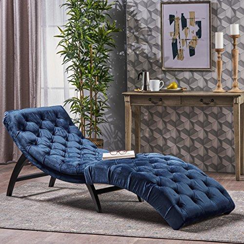 Garamond Cobalt Velvet Chaise Lounge For Sale
