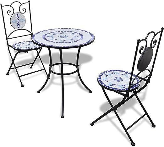 SSITG mesa de jardín de mosaico mosaico mesa mosaico Bistro silla asiento Grupo Muebles de Jardín: Amazon.es: Jardín