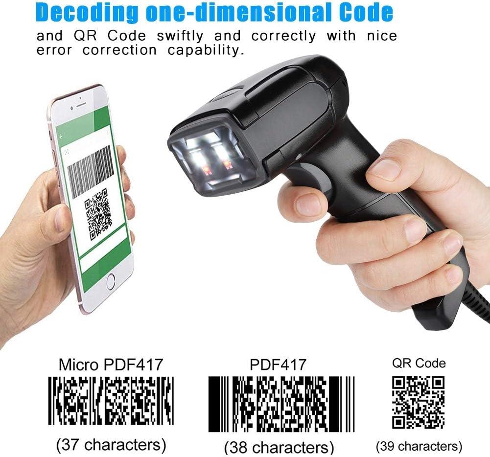 QR Code Scanner Barcode Reader Hands-Free Bar Code Reader Scanner for Mobile Payment Black ASHATA 1D 2D Barcode Scanner Wired Desktop