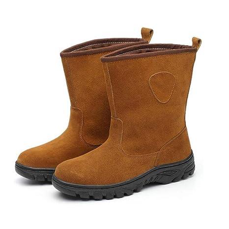 Adong Zapatos de Seguridad para Hombre de Alta Ayuda Gamuza Cosy Tobillo Botas de Acero de