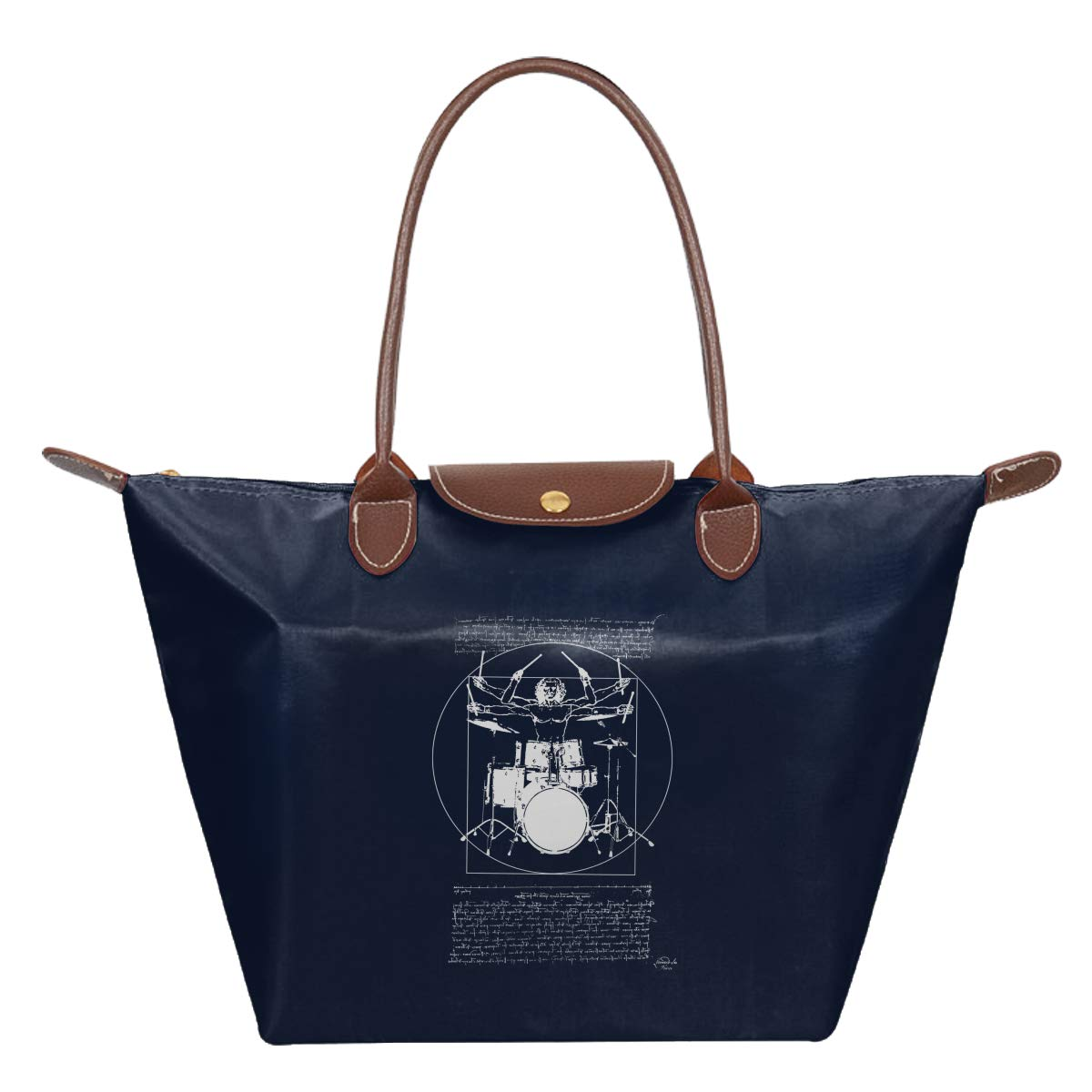 Leonardo Vit-ruvian Drummer Premium Drum Set Waterproof Leather Folded Messenger Nylon Bag Travel Tote Hopping Folding School Handbags