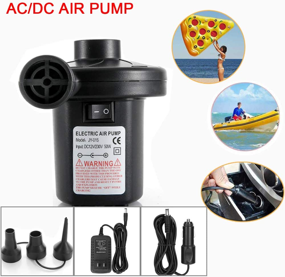 Phyismor Electric Air Pump for Inflatables 110V AC//12V DC Portable Quick Inflator//Deflator Air Pumps with 3 Nozzles for Air Mattresses Beds,Inflatable Boats Swimming Ring Pool Toys 50W