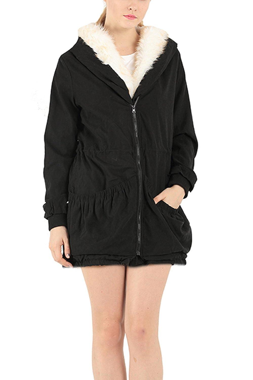 Women's Casual Hoodie Fur Wool Coat