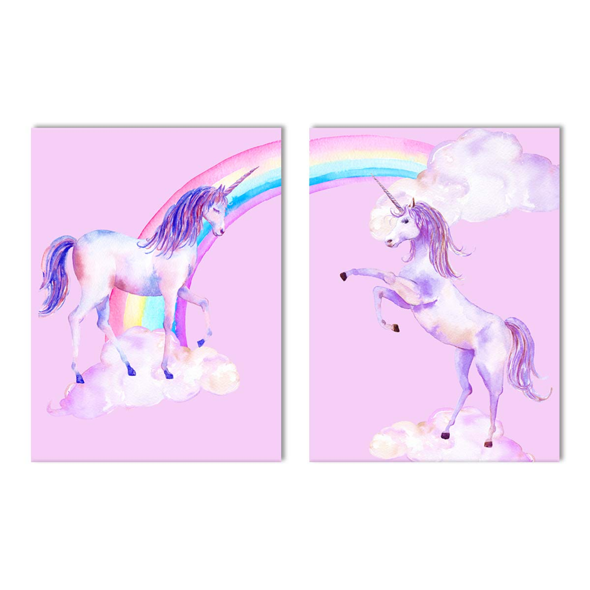 Purple Verbena Art Rainbow Unicorn Pictures for Children Walls D/écor Watercolor Painting Artwork Canvas Print Wall Art for Kids Girls Bedroom Decoration Daughter Gifts,Framed 2 Pcs of 12x16 Inches