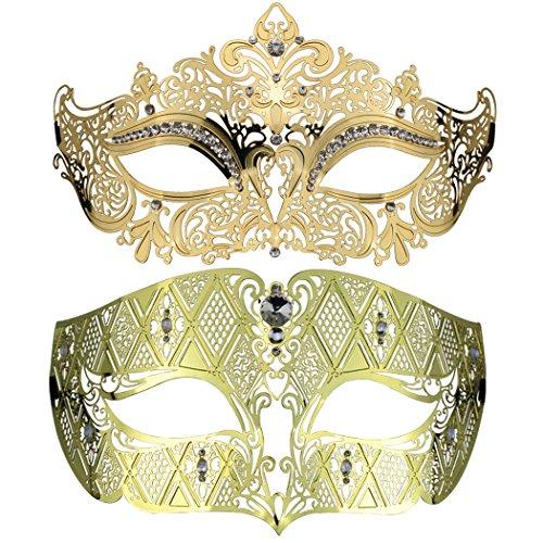 Couple's Venetian Masquerade Mask Set Luxury Style Princess Party Mask (Gold)