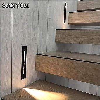 GYBYB Luz de noche aluminio + Acabado de cepillo LED Luz de escalera interior Lámpara LED Pasos empotrados Escalera Lámpara de pared escalera pasillo luz de pie @ Silver_Brush_Finish_3W_Warm_White_: Amazon.es: Iluminación