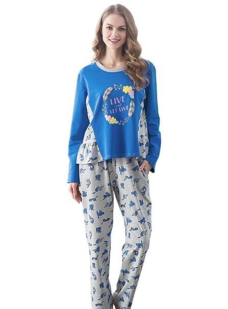 LvRao Mujer de Pijamas Gatito Impresión Ropa de Dormir Cómodo Algodon Pijama para Dama # Azul