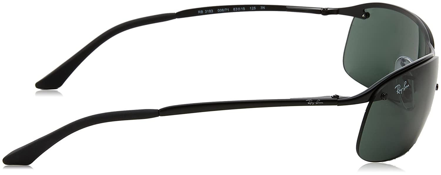 478ebe9793d Ray-Ban RB3183 006 71 Matte Black RB3183 Wrap Sunglasses Lens Category 3  Size 6  Rayban  Amazon.co.uk  Clothing