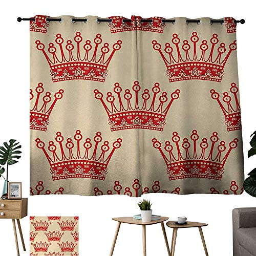 Grommet Curtains Queen,Crowns Pattern in Red Vintage Design Coronation Imperial Kingdom Nobility Theme,Orange and Tan 84