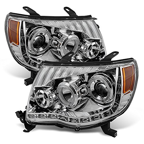 ACANII - For 2005-2011 Toyota Tacoma LED DRL Halo Projector Headlights Headlamps 05-11 Driver + Passenger Side - Toyota Tacoma Halo Headlights