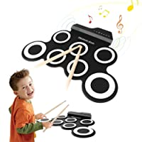 Portable Roll-up Electronic Drum for Kids/Drum Beginnesr/Drum Amateurs - Electronic Drum Kit with 2 Foot Pedals and 2 Drum Sticks (Without built-in speaker, White and Black)