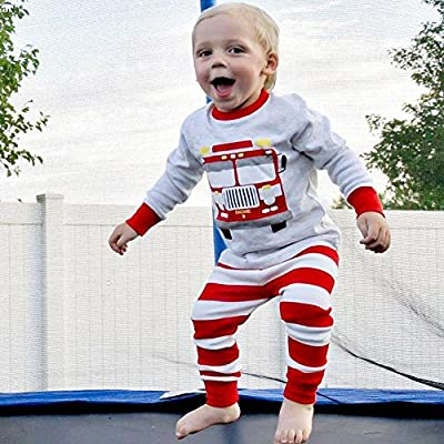 Bleubell Toddler Boys Pajamas Transport Fire Truck 2 Pieces Sleepwear 2-7Y