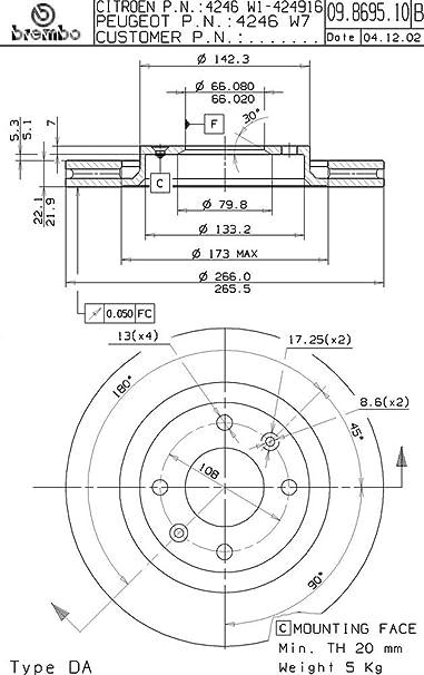 Kit Bremsscheiben Brembo Citroen Ds4 1 6 Hdi 90 68 Kw Vom 05 11 Auto