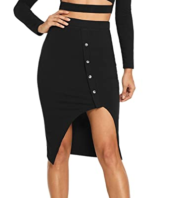 855e0e232c19 SheIn Women's Casual Button Front Rib Knit Slit Pencil Bodycon Skirt  X-Small Black