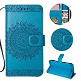Stysen Galaxy Note 5 Wallet Case,Galaxy Note 5 Floral Case,Pretty Elegant Embossed Totem Flower Pattern Blue Bookstyle Magnetic Closure Pu Leather Wallet Flip Case Cover with Wrist Strap and Stand Function for Samsung Galaxy Note 5-Totem Flower,Blue