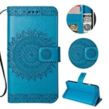 Stysen Galaxy Note 9 Wallet Case,Galaxy Note 9 Floral Case,Pretty Elegant Embossed Totem Flower Pattern Blue Bookstyle Magnetic Closure Pu Leather Wallet Flip Case Cover with Wrist Strap and Stand Function for Samsung Galaxy Note 9-Totem Flower,Blue