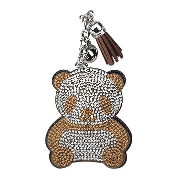 Rhinestone Llavero de Amantes Cristal Llavero Forma de Panda para Parejas Decoración del Coche/Teléfono/ Bolso de Mano/Cartera Accesorios Moda ...