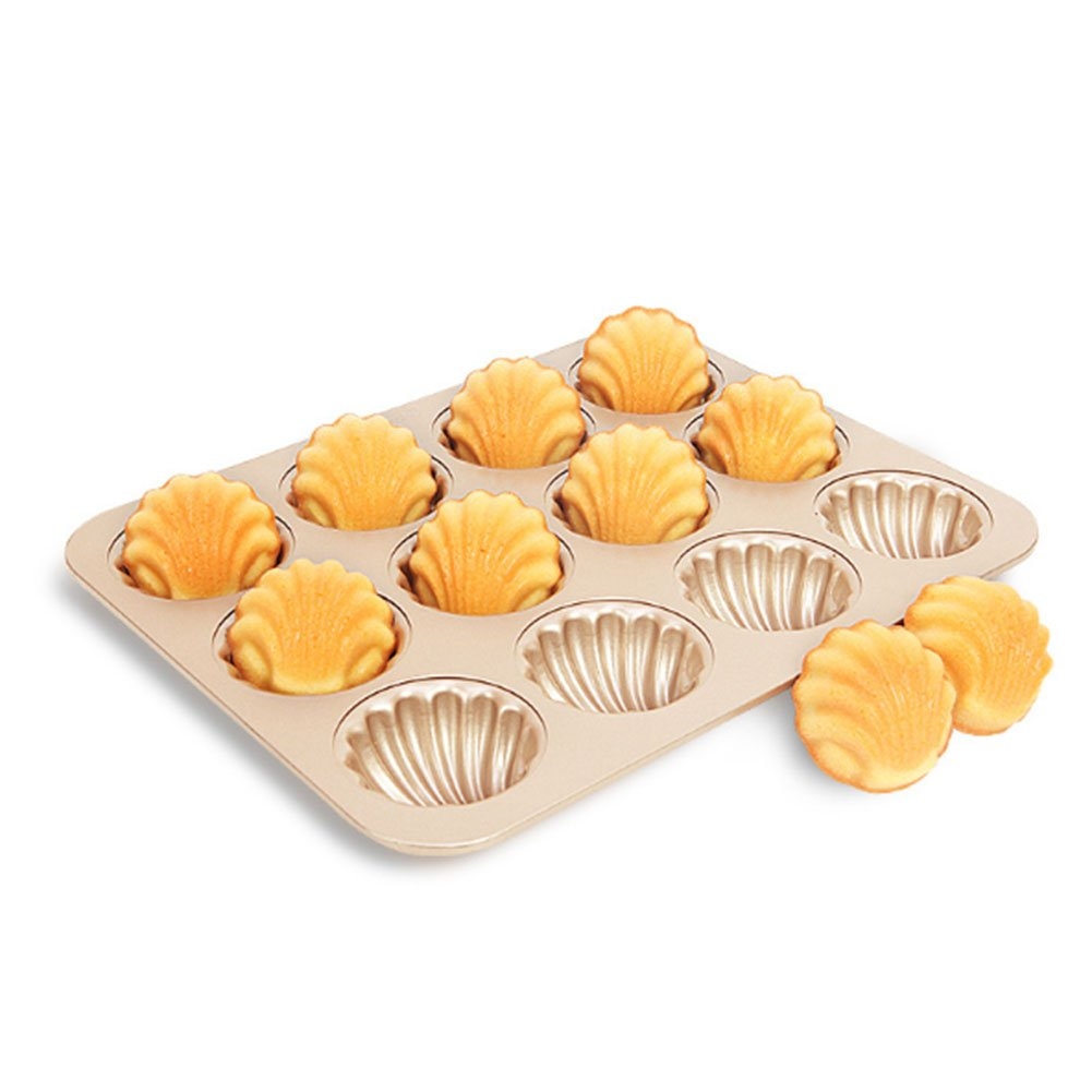 Madeleine Cookies Pan with 12 Wells Shell Shape, Nonstick Baking Pan, Easy to Use and Release Bakeware, Champagne Color Chefmade WK9316