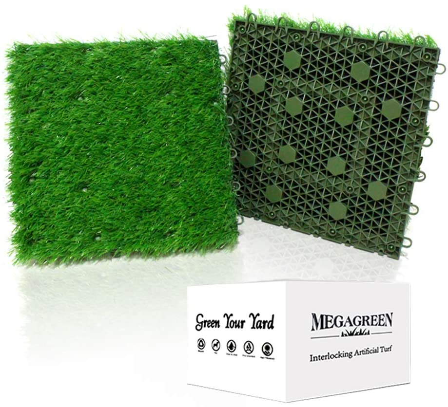 Artificial Grass Turf Interlocking GrassTiles, Multipurpose Soft Grass Rug, 12''x12'' Self-draining Mat for Outdoor Patio, Balcony, Garden, Dog Potty-Pads or Indoor Flooring Décor (6 Titles (6 Sq Ft))