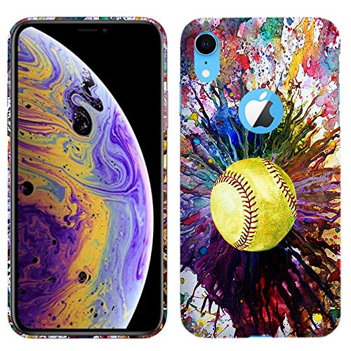 Glisten - Designer Hard Plastic Case for iPhone XR - Vintage Color Softball Printed Slim Profile Cute Snap On Back Cover from Glisten
