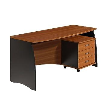 Habitdesign 0C4625Z - Mesa de despacho con cajonera, acabado Castaño y Gris, medidas 138x67x75 de altura