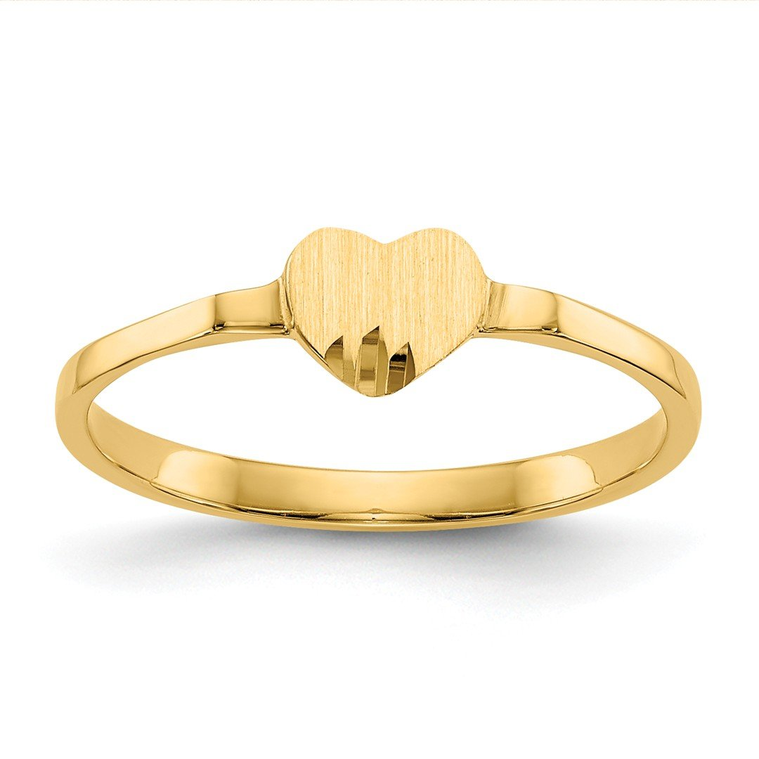 14k Yellow Gold Heart Signet Band Ring Size 4.00 S/love Fine Jewelry Gifts For Women For Her