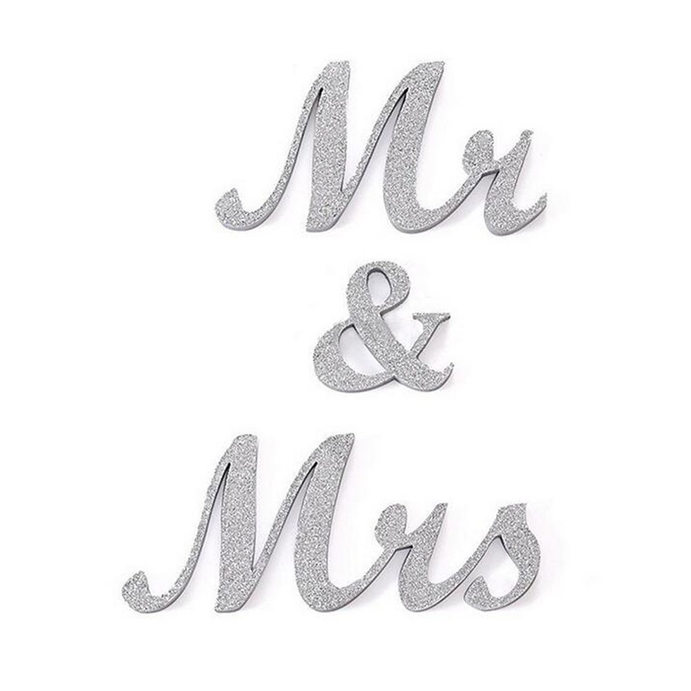 DGQ MR & MRS Wooden Letters for Wedding Table Signs - Vintage Style Wooden DIY Decor for Wedding Decoration (3.5-Inch, White) Leateck f-MR board