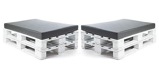 SUENOSZZZ-ESPECIALISTAS DEL DESCANSO Colchonetas para Sofas de Palet (2 x Unidades) Cojin Relleno con Espuma. Color Ceniza| Cojines para Chill out, ...