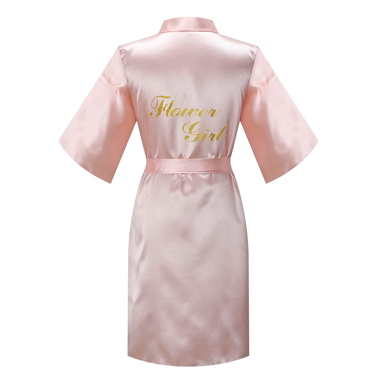 Short MORFORU Gold Glittering Flower Girl Silky Satin Kimono Robe Solid Color Kids Sleepwear for Wedding Spa Party
