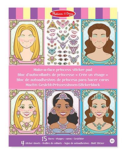 (Melissa & Doug 19433 Make-a-Face Sparkling Princesses Sticker Pad, 15 Faces, 4 Sticker Sheets)