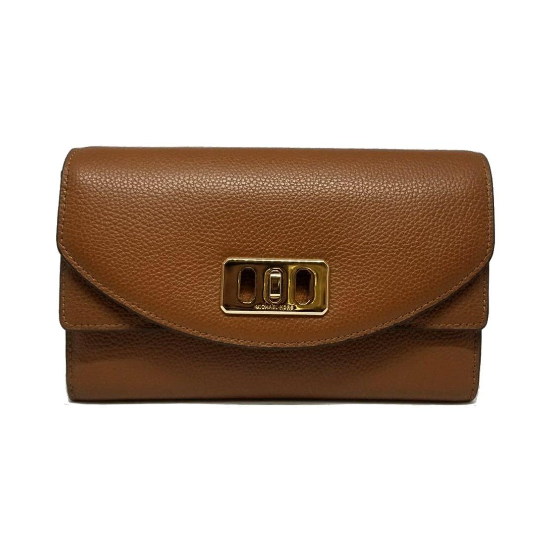 Michael Kors Karson Wallet Clutch Leather Luggage (35T8GKRC7L)