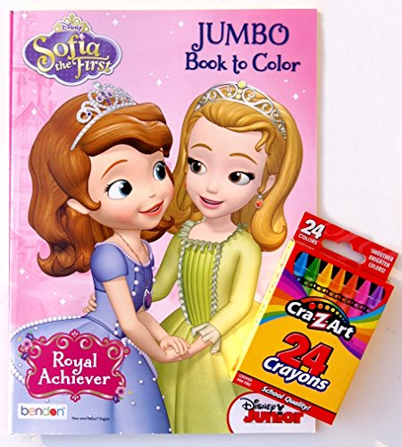 Disney Sofia the First Jumbo Book to Color with 24 Pack of Crayons