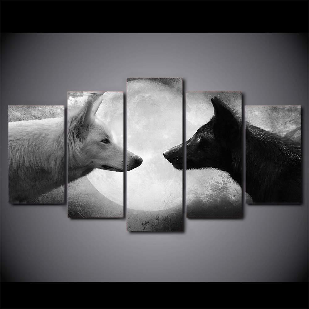 JSBVM Lona Impreso Pintura Decoraci/ón del hogar 5 Paneles Lobos Blancos y Negros Im/ágenes Modular Animal P/óster Sala Mural