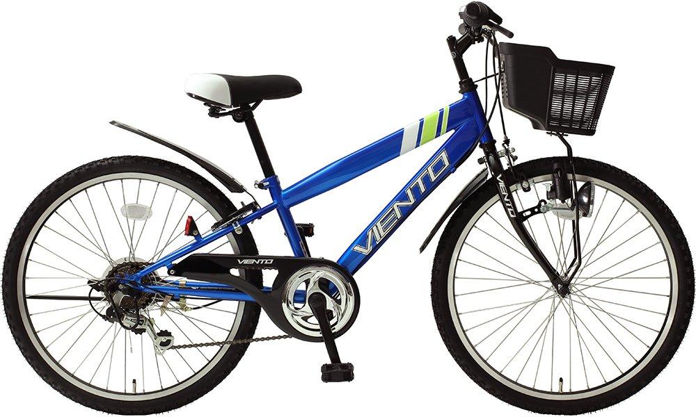 子供用自転車 24インチ ジュニアマウンテンバイク CTB シマノ6段変速ギア カゴ 鍵 ライト 泥除け チェーンカバー付き シティサイクル キッズバイク TOPONE B018S688LA