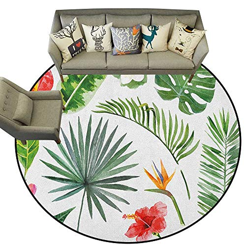 Plant,Kids Rugs Diverse Collection of Leaves and Flowers from Tropical Lands Heliconia Philodendron D66 Round Rugs for Kids Toddlers Living Room - Grape Round Rug