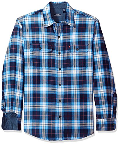 - IZOD Men's Long Sleeve Saltwater Twill Easycare Plaid Shirt, Peacoat, Small