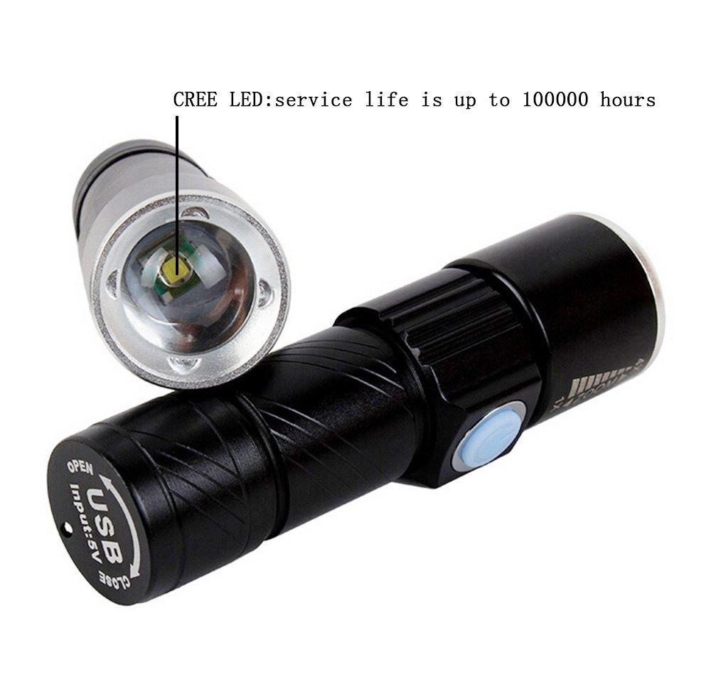 la randonn/ée noir le camping GLCHQ 5W mini lampe de poche LED USB Flash focus ajustable Zoom alliage daluminium lampe de poche rechargeable portable pour le v/élo