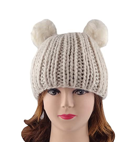 Summerwhisper Women s Cute Fluffy Ball Knit Beanie Skully Hats (S(21.3-22  d619e9da413