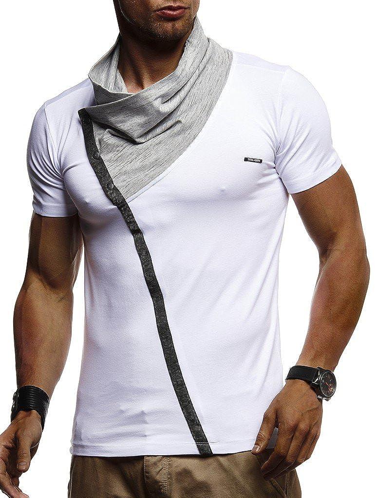 Leif Nelson Herren Sommer T-Shirt modernes Sweatshirt Crew Neck Stehkragen Kurzarm Longsleeve Basic Shirt Freizeit Hemd