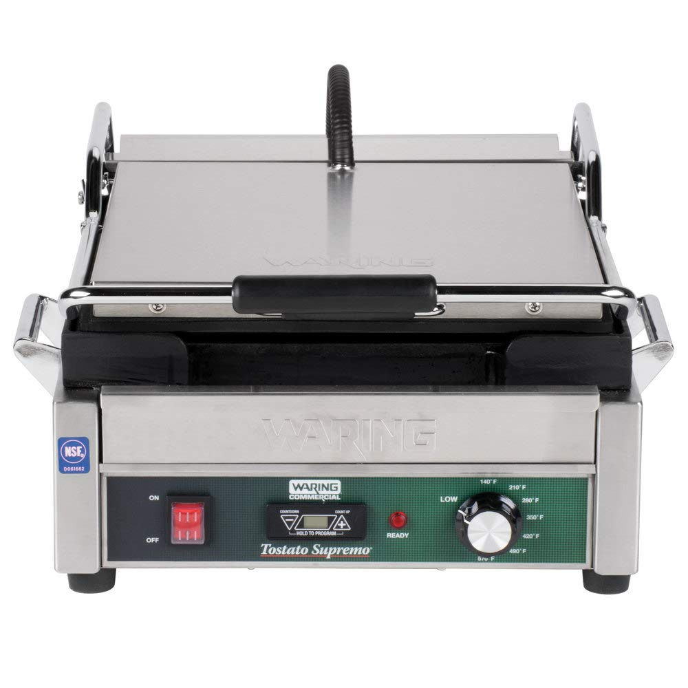 "TableTop King WFG275T Tostato Supremo Smooth Top & Bottom Panini Sandwich Grill with Timer - 14"" x 14"" Cooking Surface - 120V, 1800W"