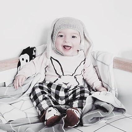 LianLe Unisex Baby Herbst Winter Hasenohren Stricke Mütze Grau Cute ...