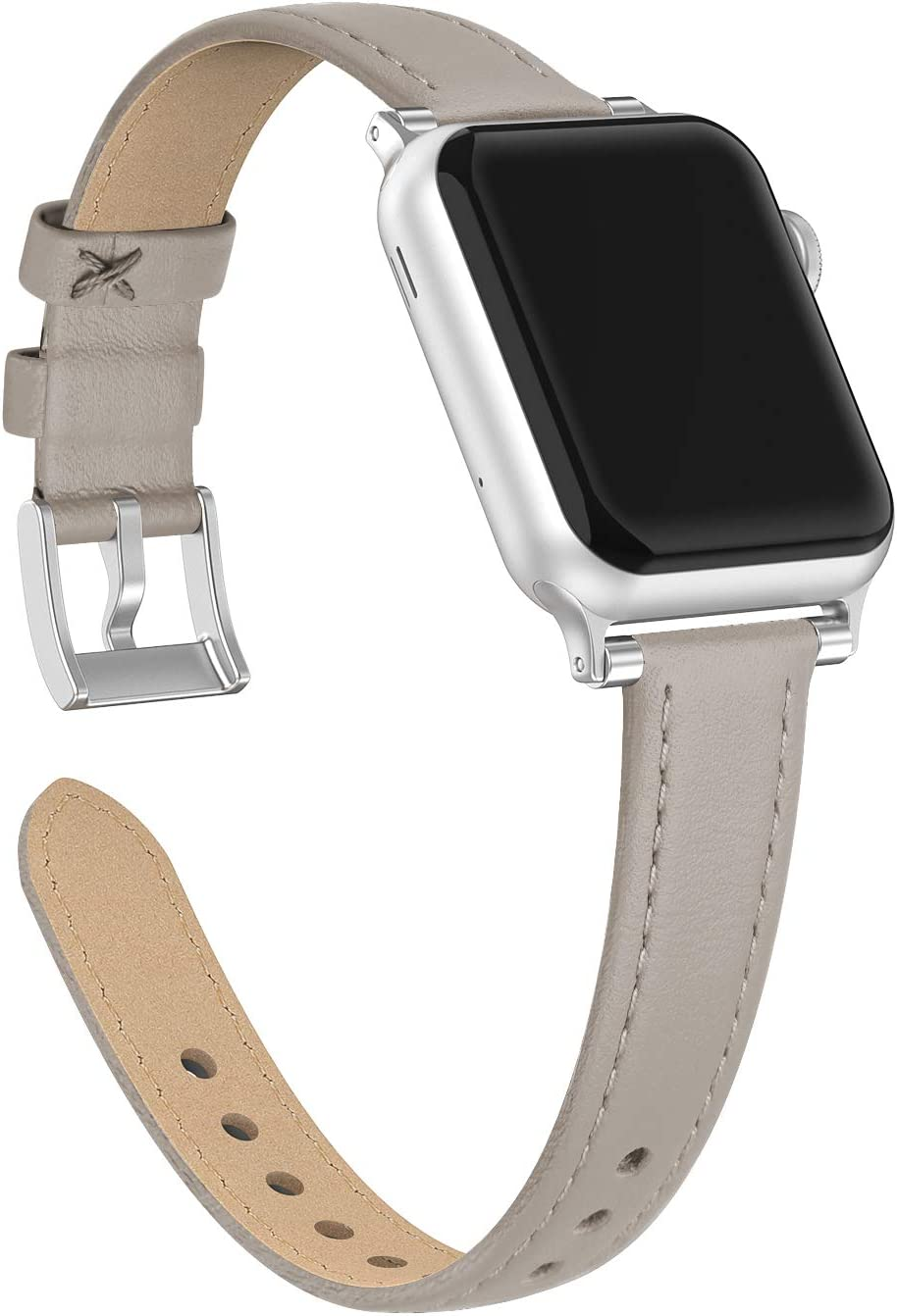 Bandiction Compatible with Apple Watch Band 38mm 40mm, Slim Dual Bead Genuine Leather Band Strap Compatible with Apple Watch 5 4 3 2 1 Sport and Edition (Pin Grain Gray)