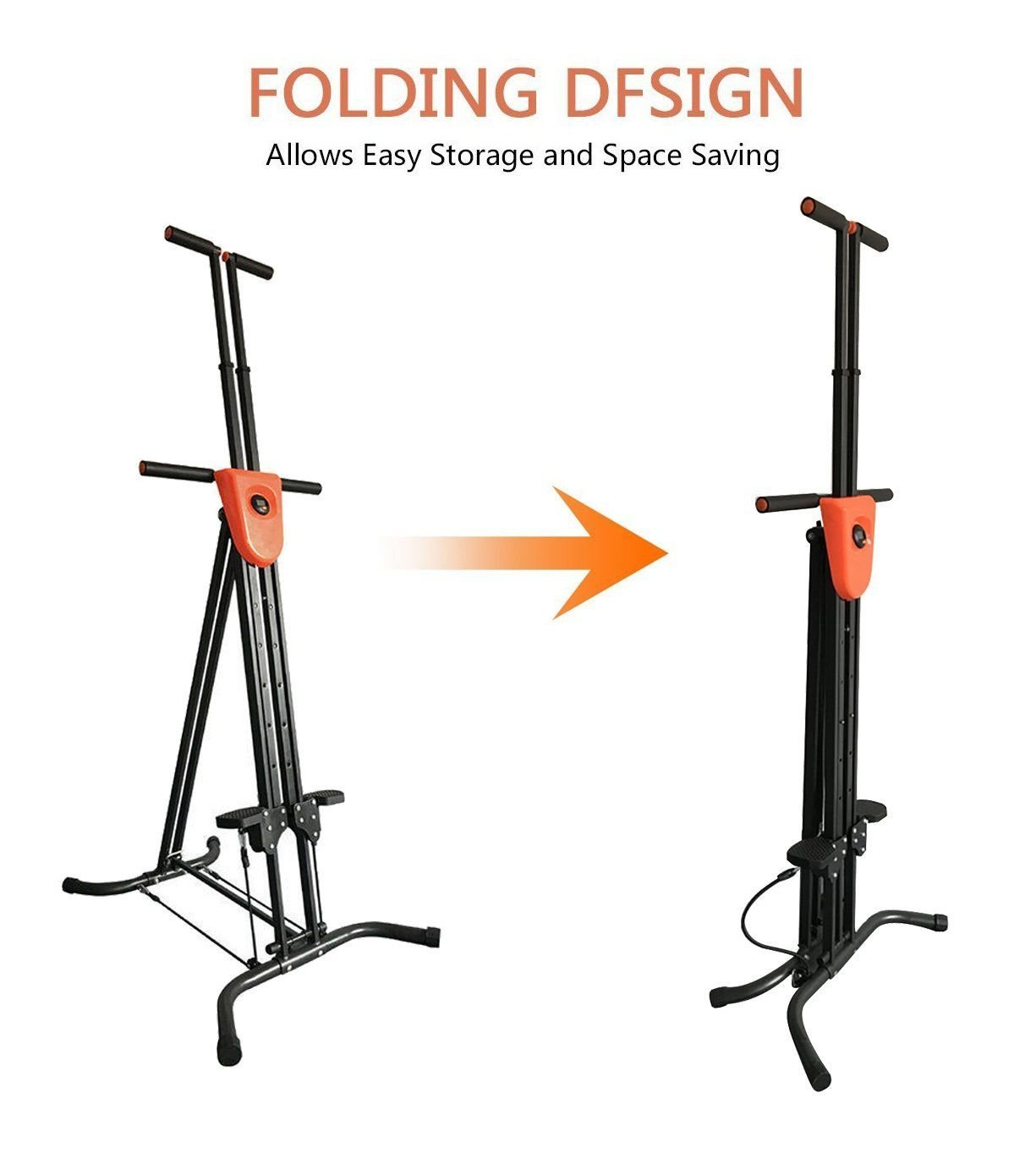 Coldcedar Foldable Vertical Climber Cardio Exercise with monitor and resistance straps for smooth climbing Full Body Workout As Seen On TV (Black, 286lbs) by Coldcedar (Image #6)