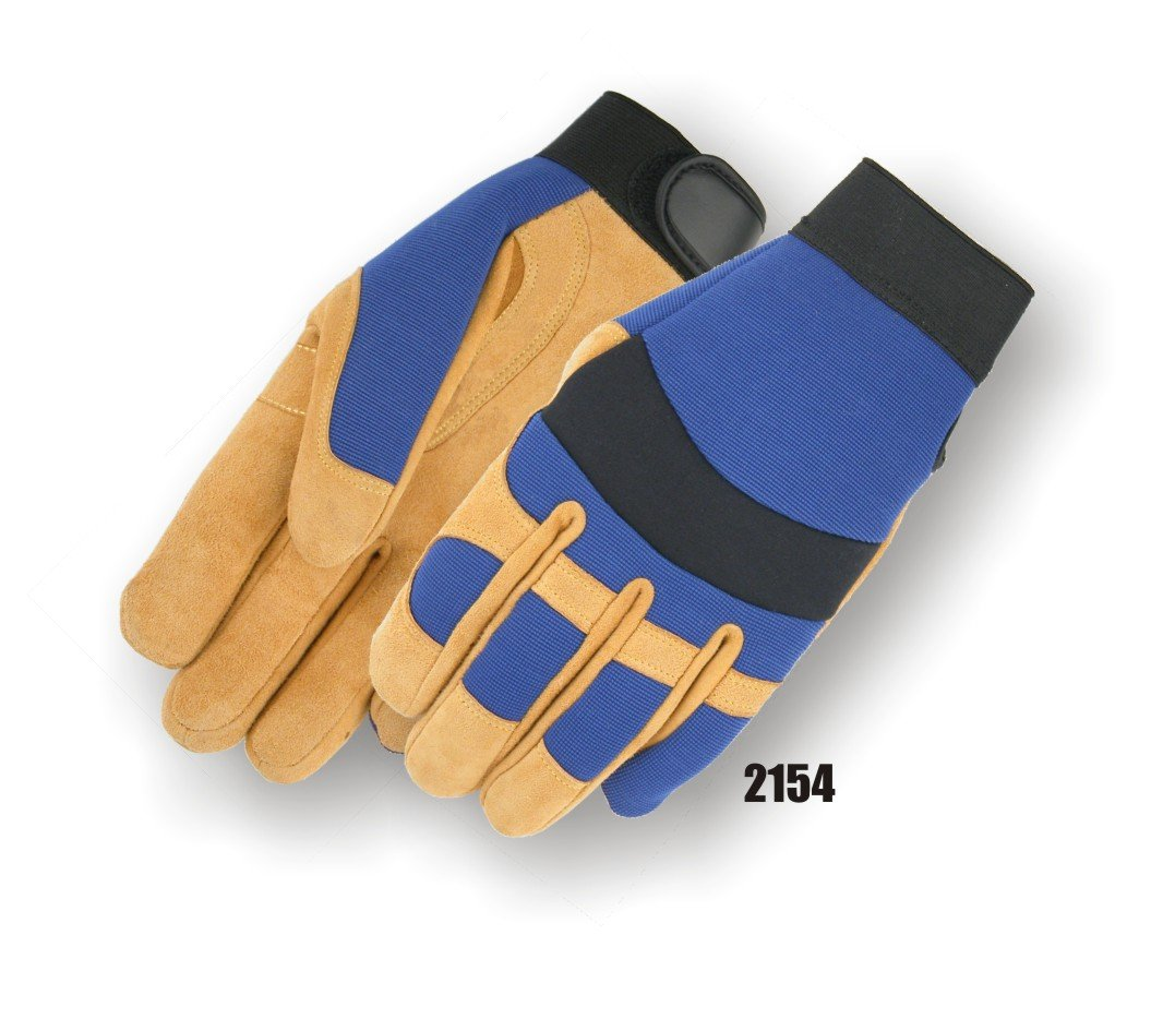(12 Pair) Majestic REVERSE COWSKIN PALM GLOVES WITH KNIT BACK & 2X LARGE - 2X LARGE, GOLD(2154/12)