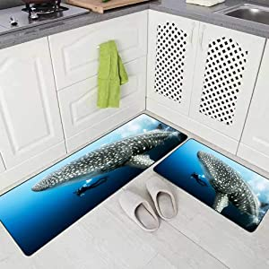 Doocilsh Kitchen Rugs,Kitchen Rugs Washable for Women and Men,17X48+17X24Inches Giant Female Pregnant Whale Shark Photo Bomb from Islands in The with Scuba Diver Underwater Darwin Kitchen Rug
