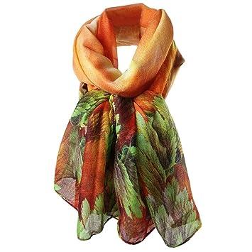Fami Elégante écharpe Châle Foulard Automne Hiver pour Femme Foulards  (Orange, 83108d165f5