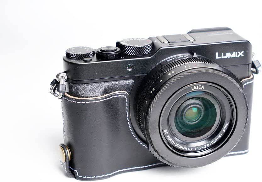 Handmade Genuine real Leather Half Camera Case bag cover for Panasonic LX100 Black Bottom opening Version