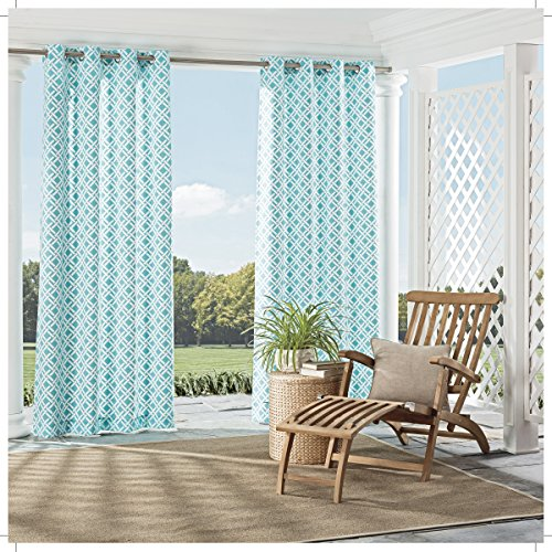 Parasol 15932052084TUQ St Kitts 52-Inch by 84-Inch Indoor / Outdoor Single Window Curtain Panel, Turquoise (Curtains Sunroom)